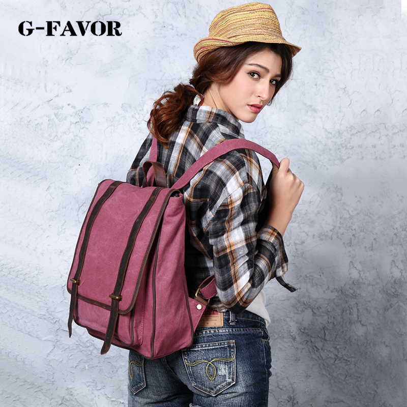 G-FAVOR Top Quality Canvas Women Backpack Casual College school Bookbag Female Retro Stylish Daily Travel Backpacks цена