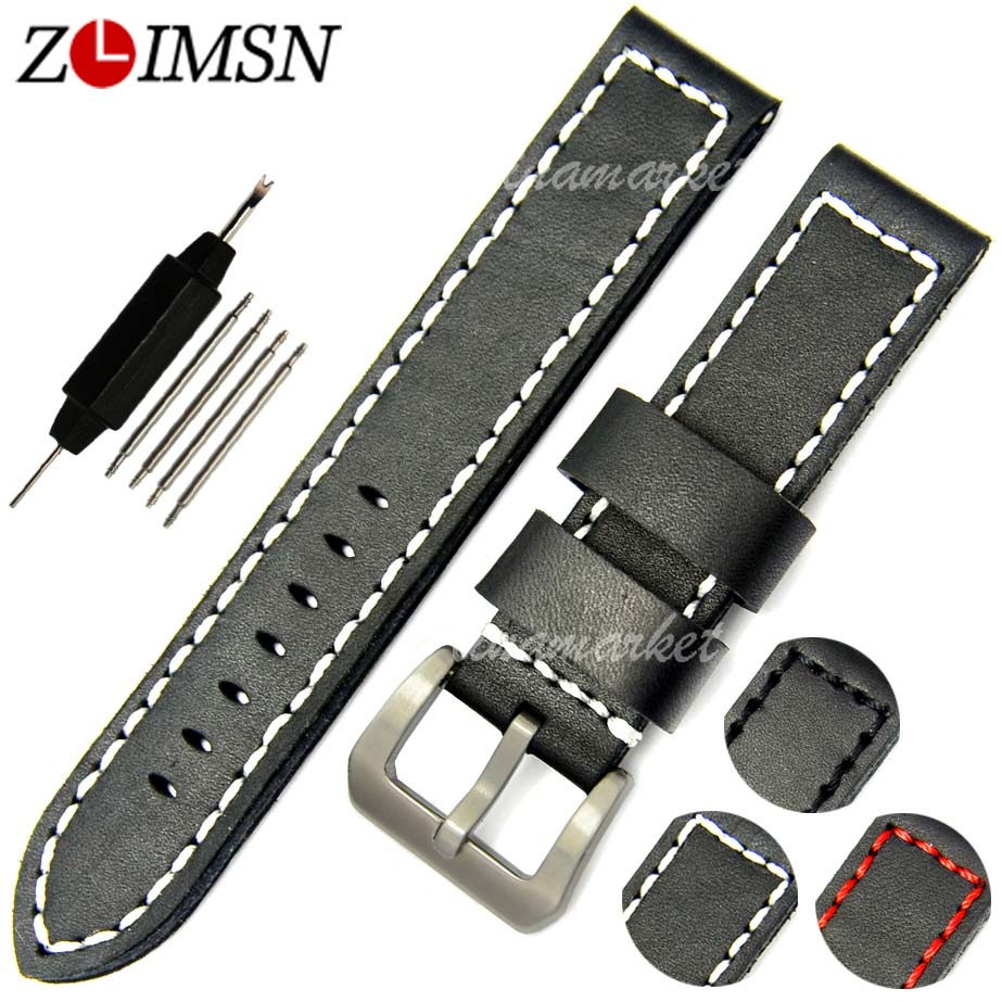Prix pour Zlimsn mode épais noir + ligne rouge en cuir bracelets montre de courroie de bande ceinture bracelet bande bandeau poignet hommes femmes 20-24mm