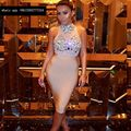 2017 spring bodycon women dress sexy high neck crystal bandage dress bodysuit short cocktail party dresses vestidos vintage