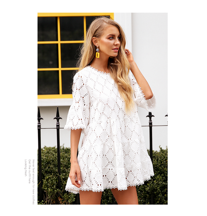 Simplee Flare sleeve cotton white lace dress Women casual ladies dress 2018 Summer high waist short dress autumn vestidos festa