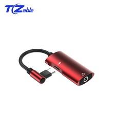 USB Tip c Iki Kafa 3.5 MM Erkek Kadın Kulaklık Jakı Tip c Yardımcı Kablo adaptörü Için Samsung Huawei Dönüşüm Hattı