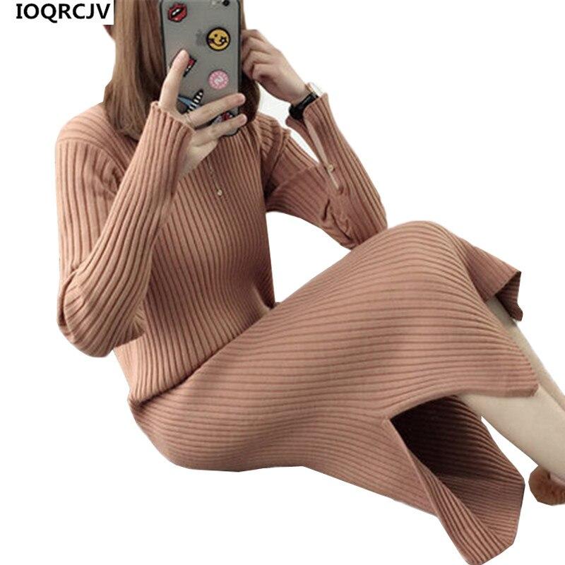 Autumn Winter Women Knit Dress 2018 New Half-length Collar Sleeve Pullover Loose Elastic Solid color Sweater Long Dress Women