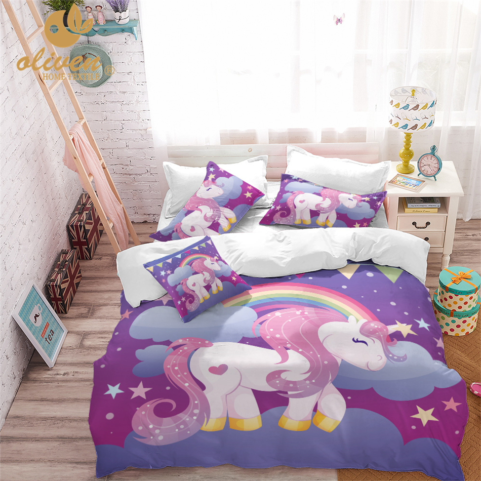 Unicorn Bedding Set Ungu Desainer Duvet Cover Kartun Rainbow Hewan