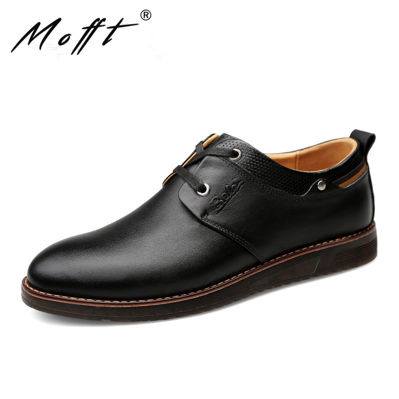 MOFFT New Design Lace Up Men Leather Shoes Autumn Fashion Breathable Handmade Leather Men Shoes Comfort