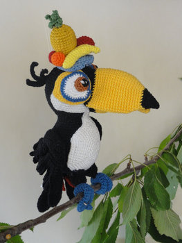 Amigurumi Crochet handmade Toucan toy and doll  baby rattle