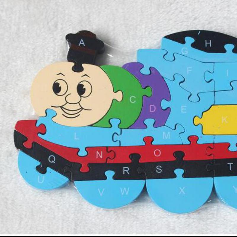 2017 nuovo cartone animato treno puzzle giocattoli di legno puzzle