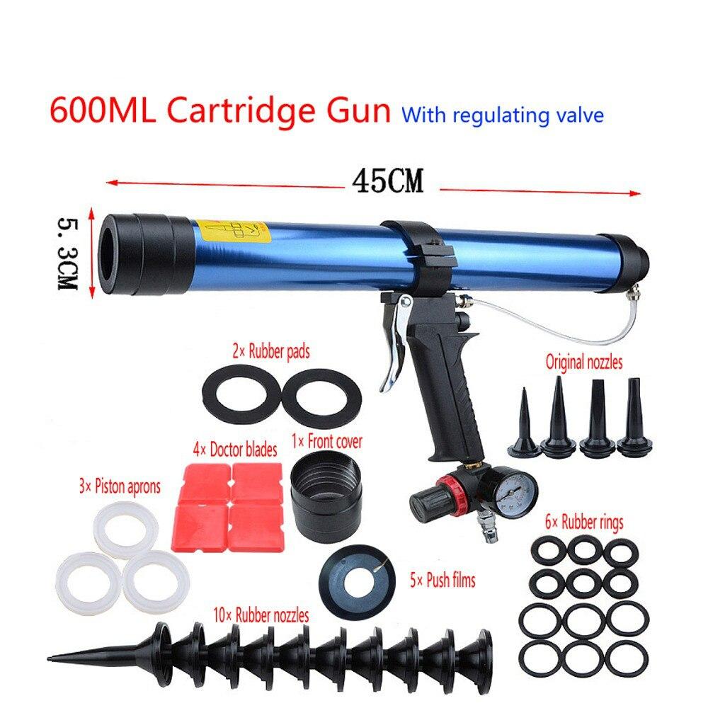 15 inches 600ml Pneumatic Caulking Gun Pistol with Pistons Glass Glue Air Rubber Guns Tool Caulking Glass Silicone Tools