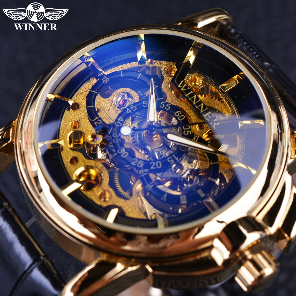 Winner 2016 Navigator Series Men Watches Top Brand Luxury Skeleton Mechanical Watch Clock Men Gold Watches Men Wristwatch Montre