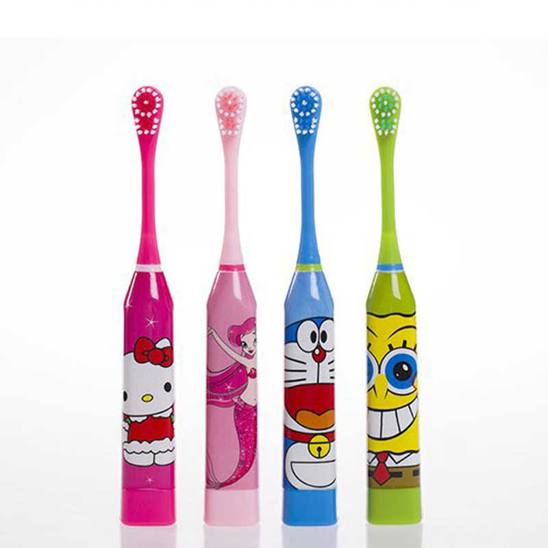 MOKILY 2 pcs Head Children Electric Toothbrush Cartoon Pattern Double-sided Tooth Brush Kids Home Cute Soft Hair Toothbrush