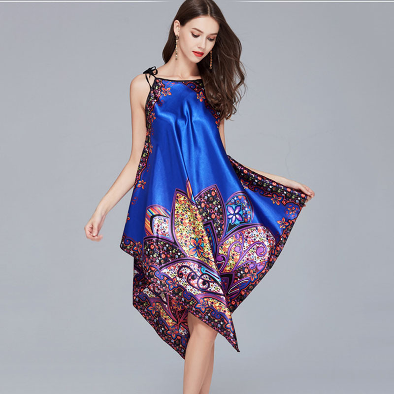 2660bda4c53 Sexy Blue Lady Satin Robe Dress Chinese Women Loose Nightgown Sleepwear  Vintage Print Kimono Kaftan Bath Gown Flower Plus Size