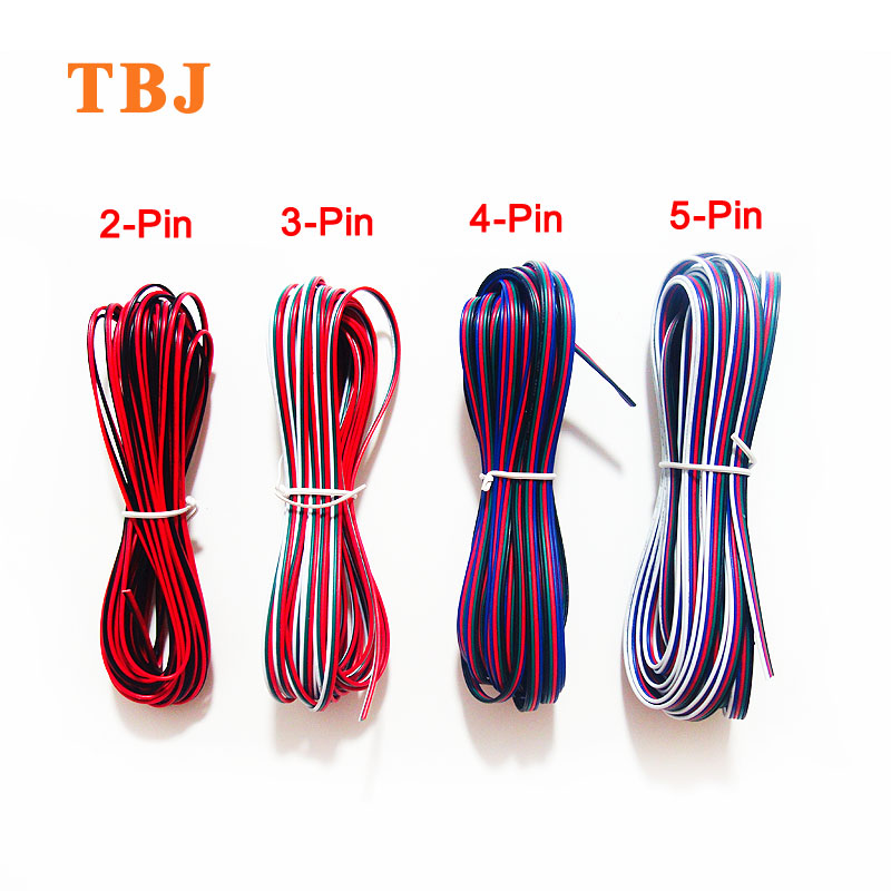 2Pin <font><b>3Pin</b></font> 4Pin 5Pin 5M 10M 20M 18AWG 20AWG 22AWG Electric Extension <font><b>Wire</b></font> Cable For Single Color RGB RGBW LED Strip Light image