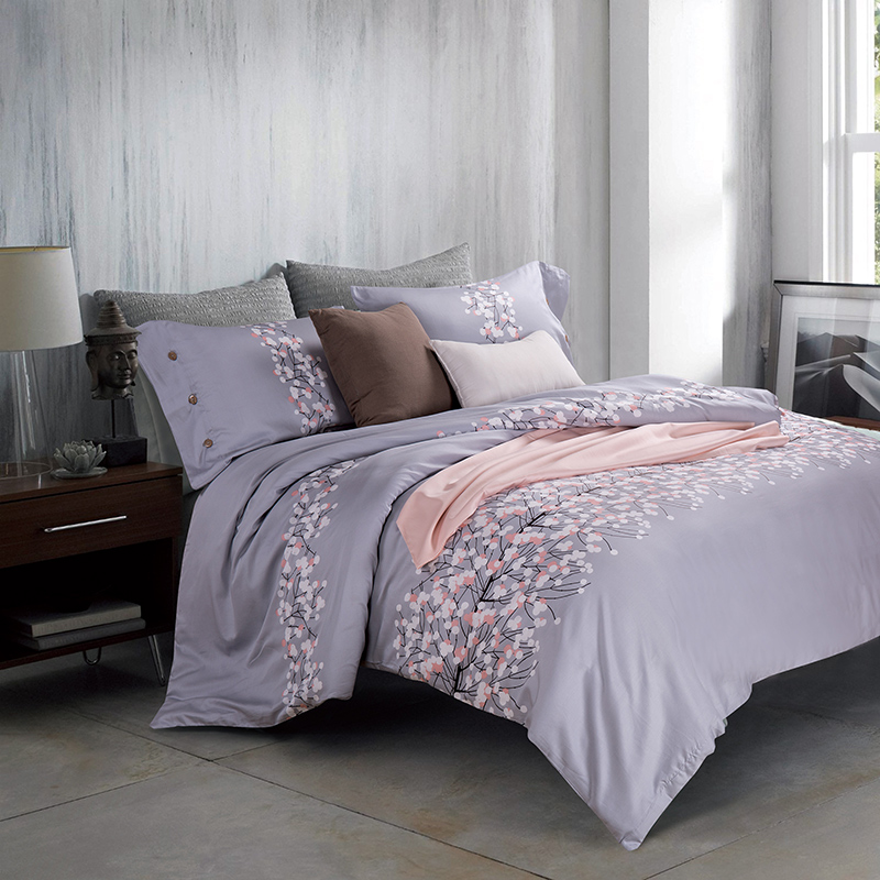 Gray Floral Queen/King Size Bedding Sets Egyptian Cotton Bedlinens Customized Flowers Duvet Cover+Flat Sheet+Pillow Cases