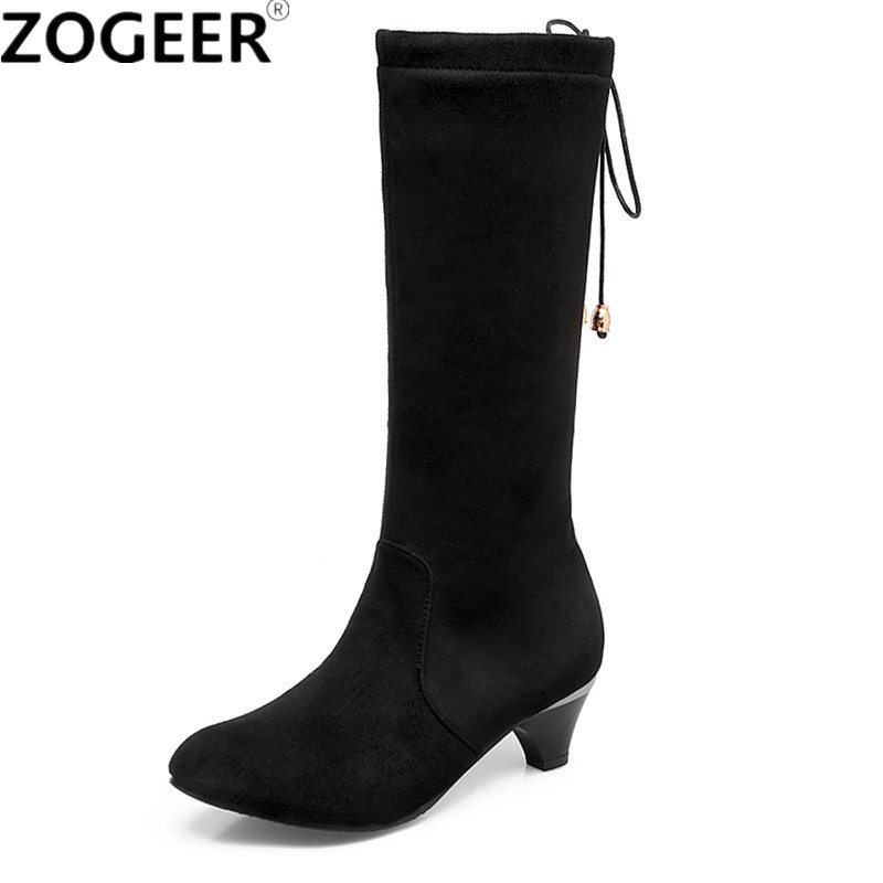 Hot 2018 Autumn Fashion Riband Women Boots Solid Flock Black Mid-calf Boots Casual Mid Heel Ladies Shoes Woman Plus size 45 memunia 2018 half boots for women spring autumn mid calf boots fashion elegant pu nubuck leather shoes woman party flock
