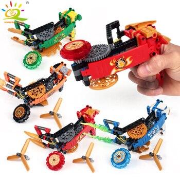 114pcs Spinners Building Block ใช้งานร่วมกับ Technic นินจาตัวเลข Spinning Top อิฐของเล่นเพื่อการศึกษาเด็ก
