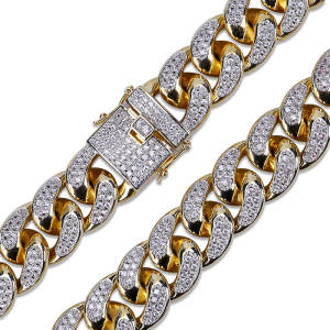 Hip Hop Miami Cuban Chain Necklace Gold Color Plated Iced Out Rhinestone Bling Crystal Zircon Necklaces For Male Jewelry 18 22