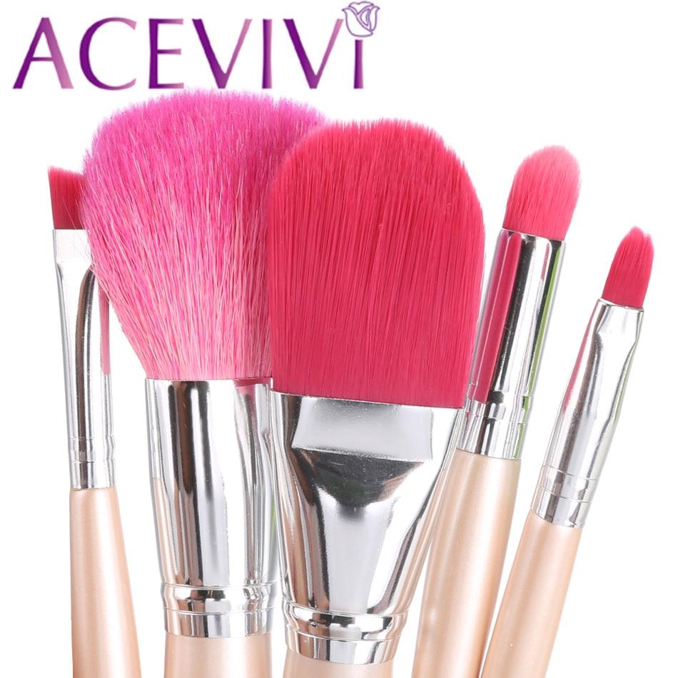 ACEVIVI Professional Makeup Brushes 5pcs Make up tool Brush Set cosmetic kit for eyeshadow foundation eyebrow lip professional bullet style cosmetic make up foundation soft brush golden white