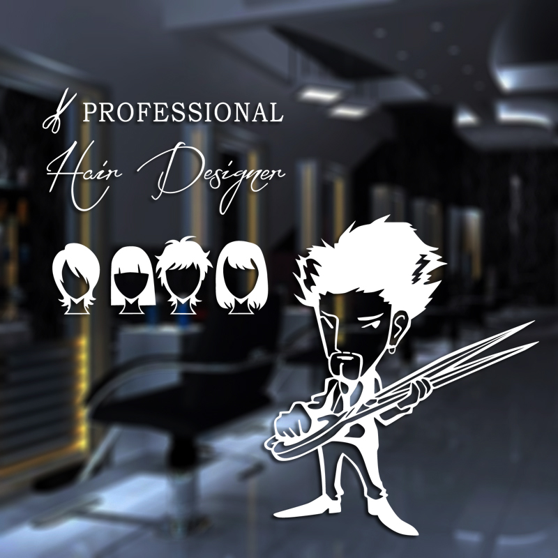 DCTAL Professional Hairdresser Sex Girls Lady Hair Salon Name Wall Sticker Hair Cutting Wall Decal Hairdressing Shop