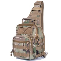 REEBOW TACTICAL Men Outdoor Sling Bag Molle Chest Pack for Hunting Running Airsoft Paintball Sports 1000D CORDURA Camouflage Bag