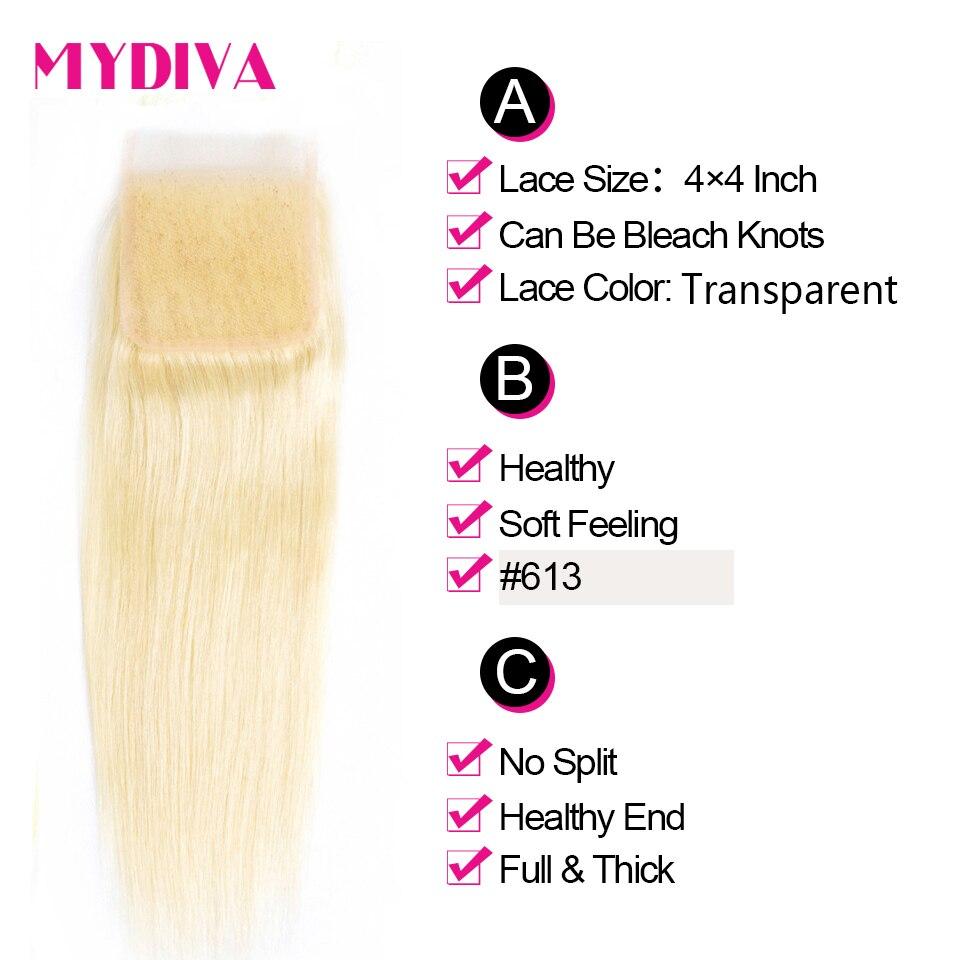 613 Blonde Bundles With Closure Brazilian Straight Hair Bundles With Closure Remy Human Hair Weave Extenstions 10-30 Inch Bundle