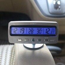 Multiple Functions Car Thermometer Clock Voltmeter Automotive Interior and Exterior Temperature Meter Calendar Clock VST7045V