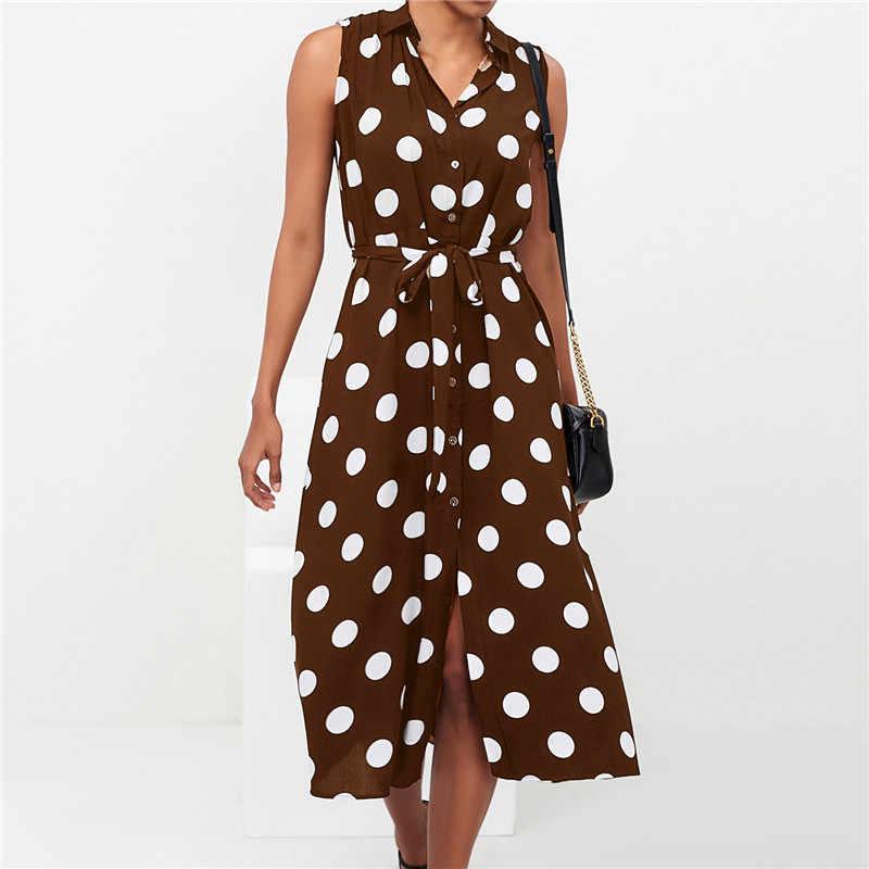 Летнее платье 2019 женское Повседневное платье в горошек с принтом Длинное Макси платье Femme Boho пляжное платье Сексуальное вечернее облегающее винтажное платье