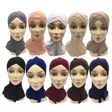Модные женские леди хлопок кроссовер мусульманский внутренний хиджаб колпачки исламские шарф шапки Арабские головные уборы