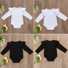 bb5df7589c85 New Baby Rompers Cotton Boys Girls Climing Cloths Children Kids Solid Color Flutter  Sleeves Rompers For 3-18Months Toddler