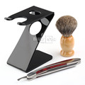 1 Set Men's Badger Hair Brush Stainless Steel Straight Razor Shave Folding Knife Z Stand Holder Free Shipping