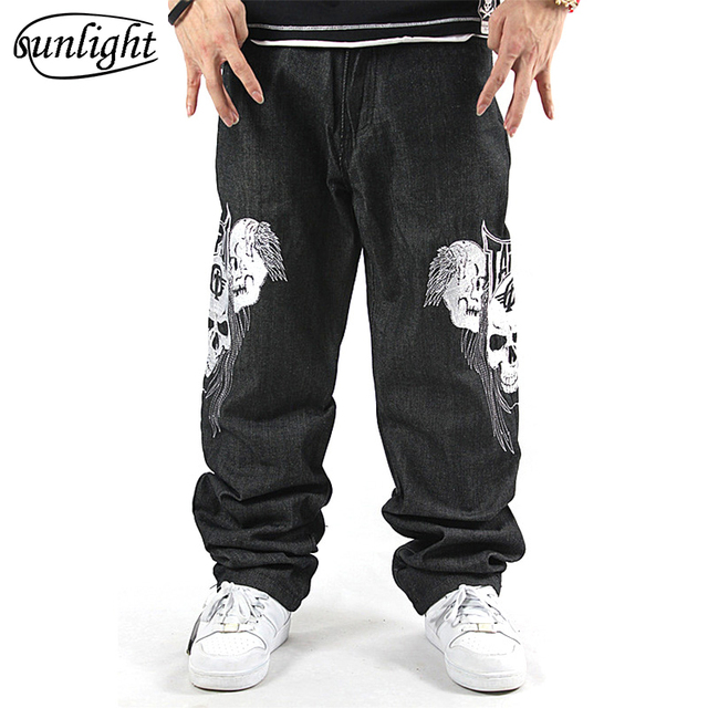 824fa71ff49 Famous Brand Black Mens Hip Hop Baggy Jeans Men Denim Loose Skateboard  Skull Printed Emboridery Harem Pants Big Size Trousers 44