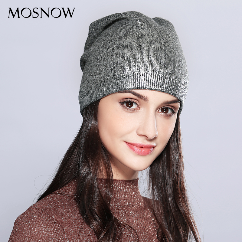 MOSNOW Women's Hats Shining Hot Sale Wool Knitted 2018 Autumn Winter Fashion Brand New Hat Female Skullies Beanies Bonnet #MZ715