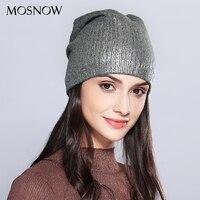 Mosnow sombreros de las mujeres que brilla Venta caliente lana de punto 2017 Otoño Invierno moda nuevo sombrero skullies Bonnet # MZ715