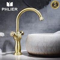 PHLIER Gold Basin Faucets Bathroom Fixtures in Brass Water Bathroom Tap Double Handle Hot Cold Mixer Water Tap Deck Mount Crane