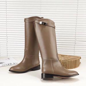 Image 5 - BuonoScarpe kobieta botki motocyklowe projektant prawdziwej skóry długie buty pasek Metal Shark blokada płaski obcas buty do kolan