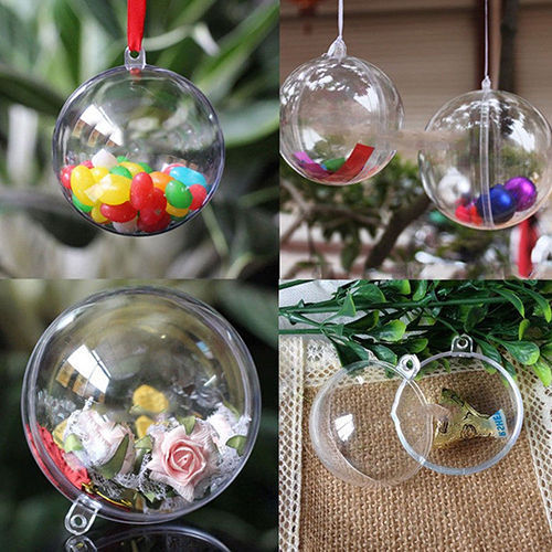 10pcslot Clear Fillable Candy Box Christmas Bauble Xmas Tree Ball Ornament Gift Present Boxes Can Open Box For Home Decor