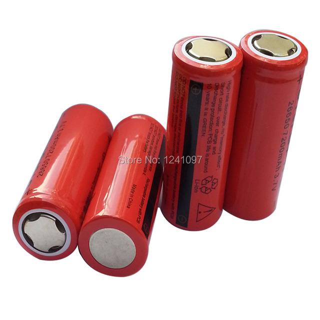 10pcs 7200mah 26650 Rechargeable Battery 3.7v Lithium li-ion batteries for Flashlight laser