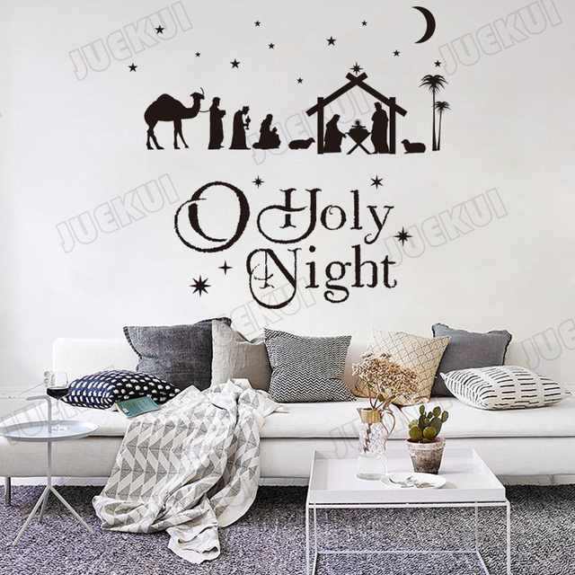 nativity scene set christmas moon and star wall stickers for living