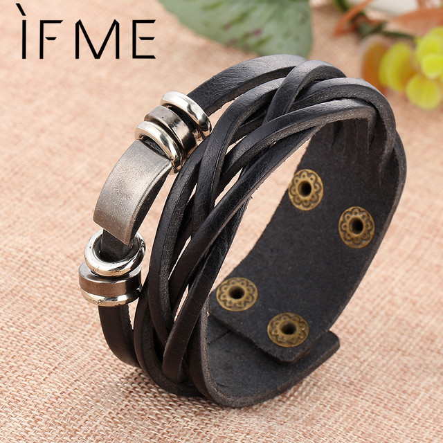 IF ME New Simple Leather Bracelet Men Jewelry Fashion Wrap Bracelets Male Bijoux