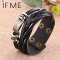 IF ME New Simple Leather Bracelet Men Jewelry Fashion Wrap Bracelets Male Bijoux Femme Wristband Punk Style Black Brown Unisex