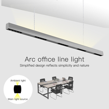 SCON 36W 120cm linear bar light creative led Rectangular line lamp office commercial lighting modern indoor Ra 85 hanging lamp cheap Painted SC-XTQ Gray White Hotel Room Parlor other bedrooms Hotel Hall 2G11 Cord Pendant push switch Pendant Lights Two years