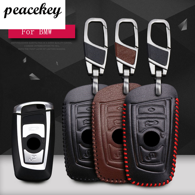 Peacekey For BMW X3 X4 2011 2015 Genuine Leather 2 Button Smart Car Key Case Cover