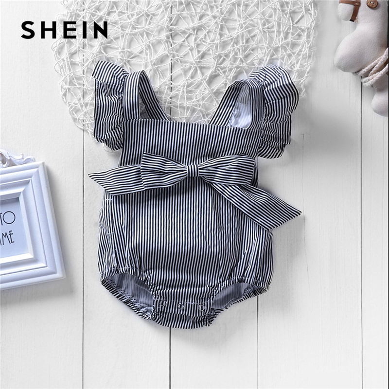 SHEIN Kiddie Grey Square Neck Striped Bow Ruffle Toddler Girls Infant Jumpsuit 2019 Summer Fashion Sleeveless Kids Clothes shein kiddie grey solid caged neck marled knitted skinny casual jumpsuit girls 2019 spring sleeveless criss cross kids jumpsuits