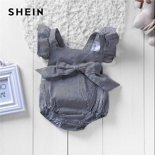 SHEIN Kiddie/серый комбинезон в полоску с квадратным вырезом и бантом для маленьких девочек; 2019 г.; летняя модная детская одежда без рукавов
