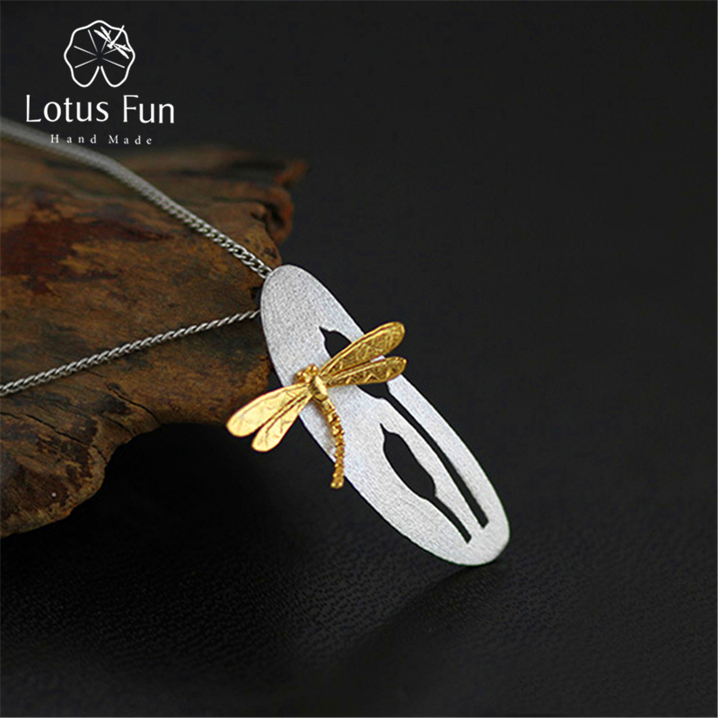 Lotus Fun Real 925 Sterling Silver Handmade Fine Jewelry Leaf and Dragonfly Design Pendant without Necklace for Women AcessoriosLotus Fun Real 925 Sterling Silver Handmade Fine Jewelry Leaf and Dragonfly Design Pendant without Necklace for Women Acessorios