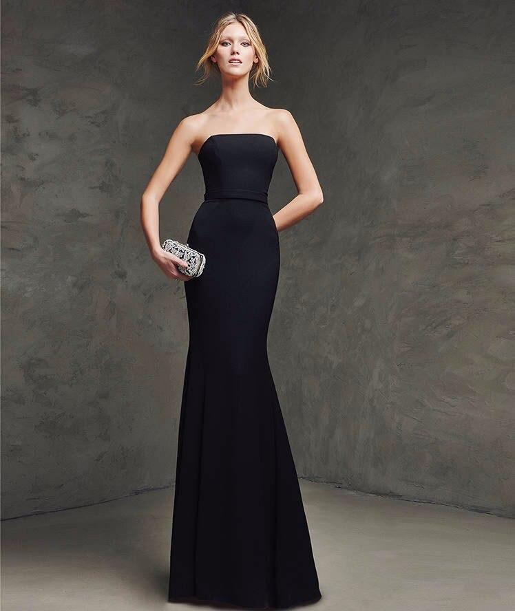 Popular Black Long Strapless Mermaid Bridesmaid Dresses-Buy Cheap ...