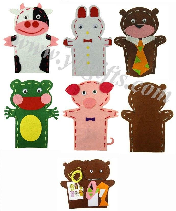 10PCS/LOT.DIY felt hand puppet craft kits,Teach your own,Early educational,kids toys,Kindergarten toys,Intelligence toy.24x18cm