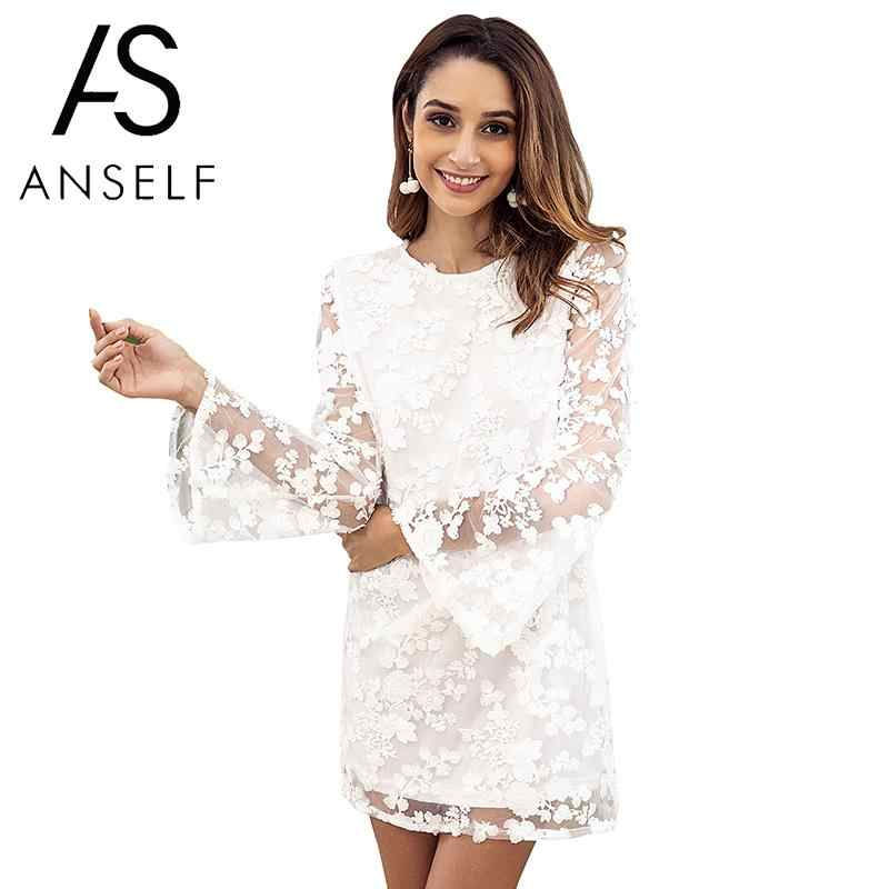 ae2032668a Anself Women Embroidered Floral Lace Dress Open Back Sheer Long Sleeves  Backless dress Casual Party Mini