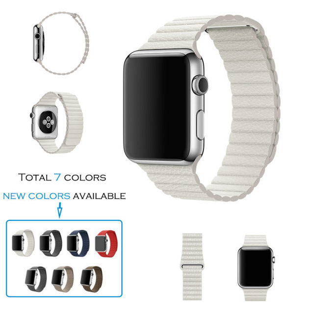 URVOI Leather Loop band for apple watch series 1 2 genuine leather strap for iwatch adjustable magnetic closure high quality