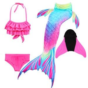 Image 3 - Розовый, синий, детский купальник русалки для девочек 2020, цветное бикини, Раздельный детский купальник, хвост русалки с моноластами