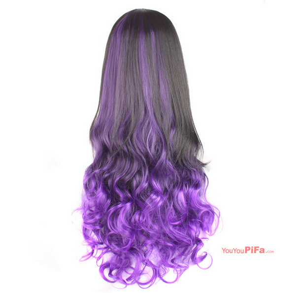 New Half Wigs Long Body Wavy Ombre Hair Wig Black To Blue Brown Red