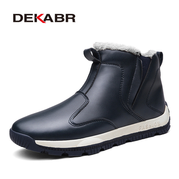 DEKABR Pu Leather Men Boots Plus Fur Snow Boots Men Winter Work Shoes Ankle Boots Fashion Waterproof Non-slip Casual Men Boots